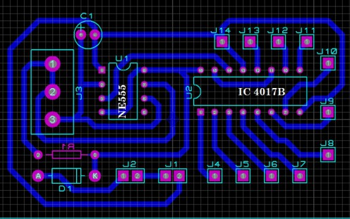 Rangkaian Running LED sederhana dengan IC NE555 dan IC 4017